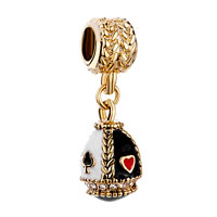 Charms Beads - golden egg clear crystal white black drip gum dangle bead charms Image.