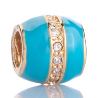 Charms Beads - aquamarine clear white crystal golden gift fit all brands gold plated beads charms bracelets Image.