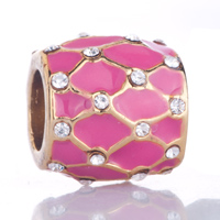 Charms Beads - pink grid clear white crystal golden gift fit gold plated beads charms bracelets all brands Image.