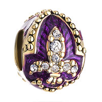 Charms Beads - amethyst purple fleur de lis charm crystal faberge egg beads charms Image.