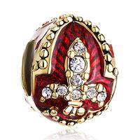 Charms Beads - 22k golden garnet red drip gum fleur de lis charm crystal faberge egg Image.