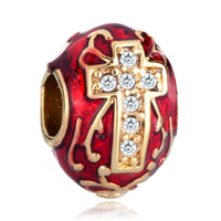 Charms Beads - red celtic claddagh irish cross charms crystal faberge egg charms Image.