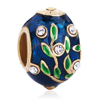 Charms Beads - topaz leaves crystal faberge egg european bead charms bracelets Image.