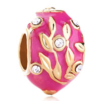 Charms Beads - 22k golden rose pink drip gum branch leaves crystal faberge egg Image.