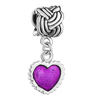 Charms Beads - serrate edge heart charm bracelet purple drip gum dangle beads Image.