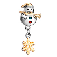 Charms Beads - cute snowman horn green red crystal dangle s snowflake bead charm gold Image.