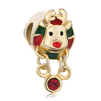 Charms Beads - golden charm rudolph reindeer red green drip gum dangle crystal Image.