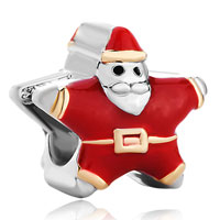 Charms Beads - silver red santa claus european infant charm bead charms bracelets Image.