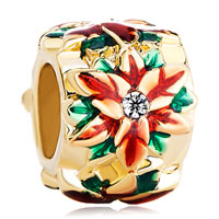 Charms Beads - golden cylinder red green drip gum flower clear crystal pistil gold plated beads charms bracelets fit all brands Image.