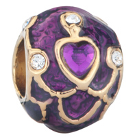 Charms Beads - 22k golden purple crystal faberge egg bead golden charms bracelets Image.