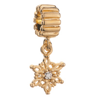 Charms Beads - golden snowflake dangle clear crystal jewelry beads charm bracelets Image.