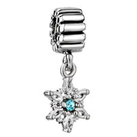 Charms Beads - march births aquamarine crystal snowflake dangle christmas charm Image.