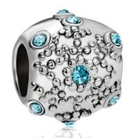 Charms Beads - aquamarine crystal snowflake euro bead designer charm bracelets gift Image.