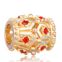Charms Beads - golden oval red crystal july birthstone euro beads charms bracelets Image.
