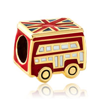 Charms Beads - silver red school bus london bracelet charm gold european bead gift Image.