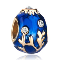 Charms Beads - 22k golden sapphire blue drip branches faberge egg bead charm charm Image.