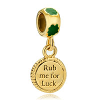 Charms Beads - 22k gold clover rub me for luck st patrick bead charm charm dangle Image.