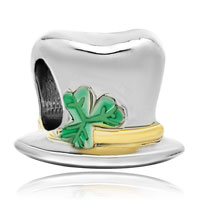 Charms Beads - 22k gold clover magician hat st patrick bead charm bracelets charm Image.