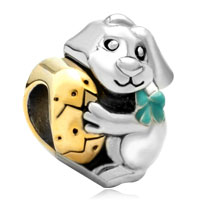 Charms Beads - 22k gold plated silver tone rabbit bunny holding easter egg bead charm Image.