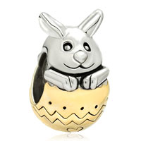 Charms Beads - 22k gold plated silver tone cute rabbit bunny easter bead charm Image.