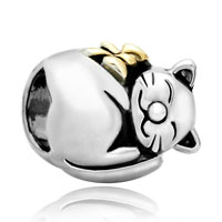 Charms Beads - mothers day gifts 22k gold fortune cat animal charm for bracelet charm Image.