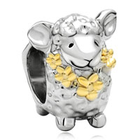 Charms Beads - mothers day gifts 22k gold cute sheep animal charm for bracelet charm Image.
