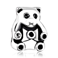 Charms Beads - silver plated cute panda animal charms for bracelets european bead Image.