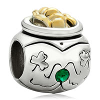 Charms Beads - 22k golden jar clover may births emerald green crystal bead charm Image.