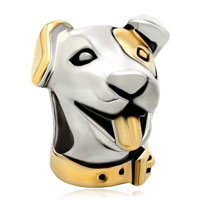 Charms Beads - p golden puppy dog head animal two tone plated beads charms bracelets fit all brands Image.