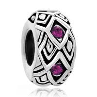 Man's Jewelry - amethyst purple swarovski crystal rhombus bead designer charm bracelet Image.