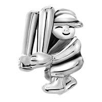Charms Beads - silver baseball player sports charm for bracelet charm bracelet Image.