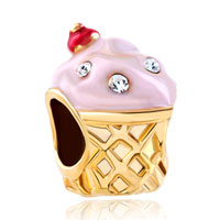 Charms Beads - gold cup white crystal april births rose pink ice cream bead charm Image.