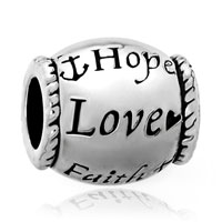 Charms Beads - hope love faith silver tone barrel bead designer charm bracelet charm Image.