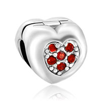 Charms Beads - red crystal flower charms bracelets heart love clip lock stopper Image.