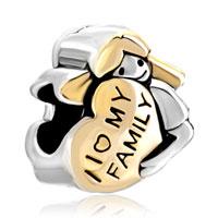 Charms Beads - 18k gold mother's american girl charm bracelet i love my family heart Image.
