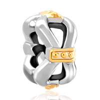 Charms Beads - silver plated gold bowknot charm bracelet spacer european bead Image.