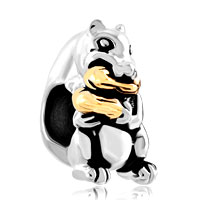 Charms Beads - gold peanut cute squirrel animal charms for bracelets european bead Image.