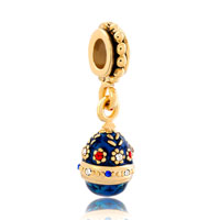 Charms Beads - blue easter faberge egg flower dangle golden charm bracelet spacers Image.