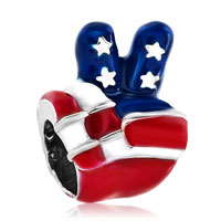 Charms Beads - usa patriotic flag victory hand sign language bead charm bracelets Image.