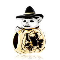 Charms Beads - gold cute spider snowman with classic black gentleman hat bead charm Image.