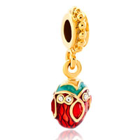 Charms Beads - red crystal easter faberge egg dangle golden charm bracelet spacers Image.