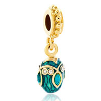 Charms Beads - blue topaz crystal easter faberge egg dangle golden charm spacers Image.