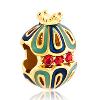 Charms Beads - gold snow white king crown filigree faberge egg lucky charm bracelet Image.