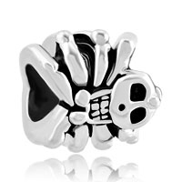 Charms Beads - silver plated halloween bead gifts skull charm bracelet spider Image.
