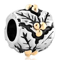 Charms Beads - silver gold mistletoe european bead charm lucky charm bracelet Image.