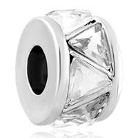 Charms Beads - silver white cubic zirconia cz charm bracelet spacer european bead Image.