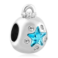 Charms Beads - aquamarine blue crystal guiding star ornament lucky charm bracelets Image.