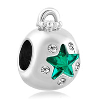Charms Beads - emerald green crystal guiding star ornament lucky charms bracelets Image.