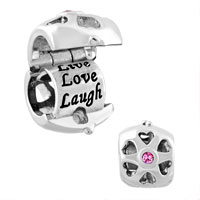 Charms Beads - silver plated live love laugh locket charm bracelet crystal charms Image.