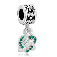 Charms Beads - celtic knot charm bracelet spacers emerald green crystal bracelet Image.